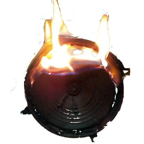 burnt loudspeaker burnt